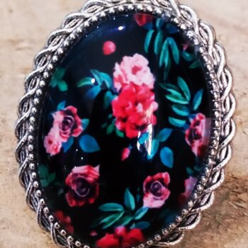 Δαχτυλίδι Μαύρο Φλοράλ